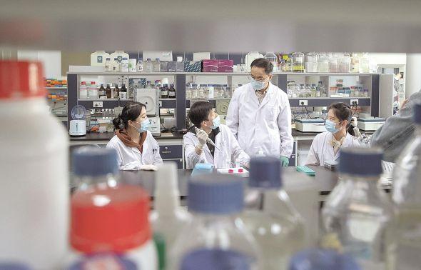 中国科学院院士、湖北洪山实验室主任张启发(右二)指导学生做实验。(湖北日报全媒记者 柯皓 实习生 胡宇韬 摄)